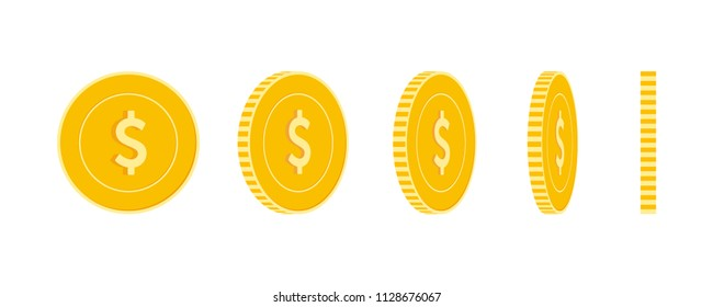 American dollar coins set, animation ready. USD yellow coins rotation. USA metal money in different positions isolated. Good-looking cartoon vector illustration.