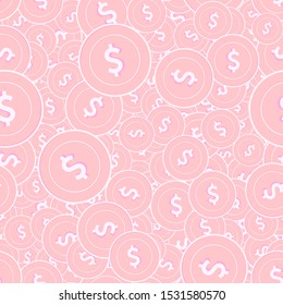 American dollar copper coins seamless pattern. Memorable scattered pink USD coins. Success concept. USA money pattern. Coin vector illustration.