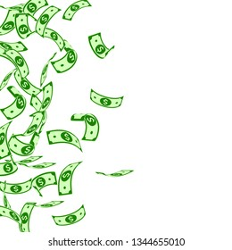 American dollar notes falling. Floating USD bills on white background. USA money. Cool vector illustration. Overwhelming jackpot, wealth or success concept.