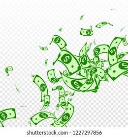 American dollar notes falling. Messy USD bills on transparent background. USA money. Comely vector illustration. Wonderful jackpot, wealth or success concept.
