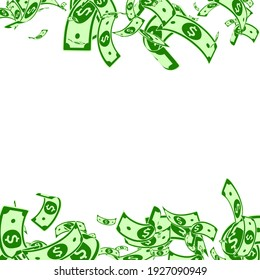 American dollar notes falling. Messy USD bills on white background. USA money. Comely vector illustration. Adorable jackpot, wealth or success concept.