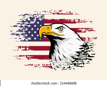 American eagle against USA flag background. EPS 8, CMYK