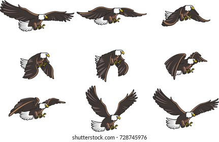 American Eagle Cartoon Flying Animation Sprite