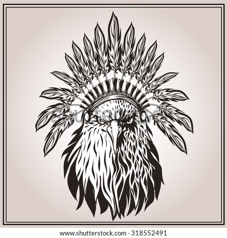 American Eagle Ethnic Indian Headdress Feathers Stock Vector