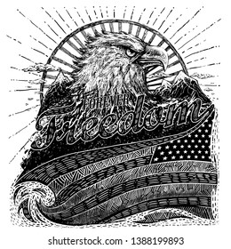 american eagle flag gravure fashion illustration forever freedom slogan engraving print graphic design