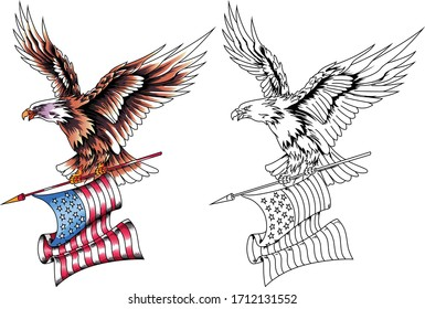 American eagle in flight with the USA flag in its claws. Vector illustration