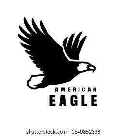 American eagle. Flying bird logo, simbol.