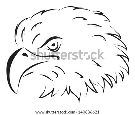 American Eagle Head Outline Drawing Vector