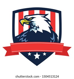 American Eagle Logo Mascot Vector Icon with Flag of America Background Independence Day Template Design