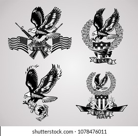 American eagle military marine and crossing rifles and Military combat aircraft
