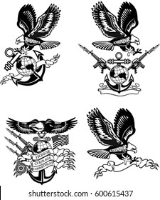 American eagle military marine and crossing rifles