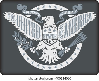 American eagle on grey background.