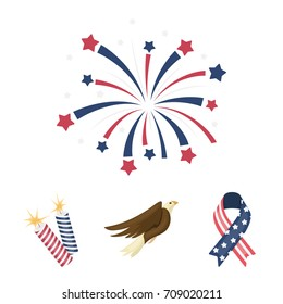 American eagle, ribbon, salute. The patriot's day set collection icons in cartoon style vector symbol stock illustration web.