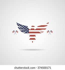 American Eagle sign with flags for background