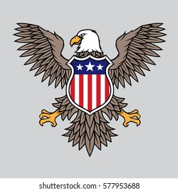 American Eagle With Stripes And Stars Vector