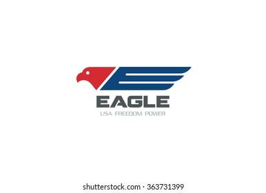 American Eagle symbol of Freedom Democracy Logo design vector template. USA colors Falcon Hawk Logotype concept icon.