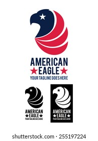 American Eagle is a template logo representing the head of an eagle, symbol of the USA, with white, red and blue flag colors. It is suitable for companies, business, studios, shops, etc.