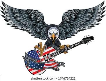 American eagle and USA flag electric guitar