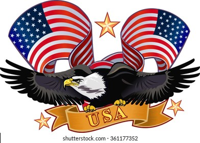 American eagle with USA flags. Vector