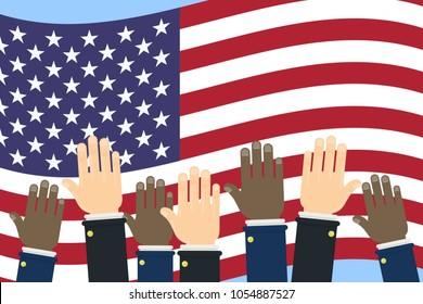 American election campaign. Hands on usa flag.