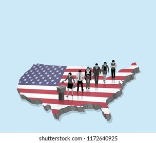 American election over an 3D map with USA citizens and US flag. All the objects, shadows and background are in different layers.