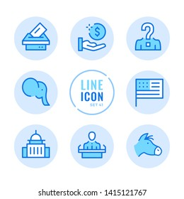 American elections vector line icons set. Voting, politics, United States political party, government, ballot box outline symbols. Thin line design. Modern simple stroke graphic elements. Round icons