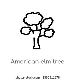 american elm tree vector line icon. Simple element illustration. american elm tree outline icon from nature concept. Can be used for web and mobile
