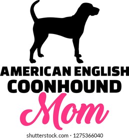 American English Coonhound mom silhouette with pink word