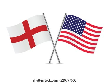 American and English flags. Vector illustration.