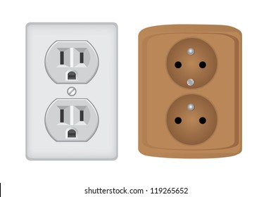 American and european electric socket, isolated - realistic illustration
