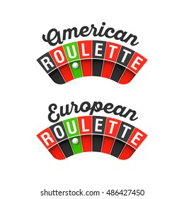 American and European Roulette wheel signs. Vector illustration.