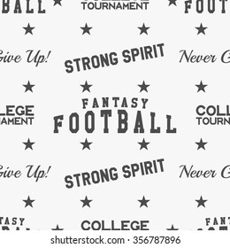 American fantasy football pattern. Usa sports seamless background. Sport wallpaper with goal in monochrome design. Vector soccer equipment graphic. Typography, classic hand drawn style