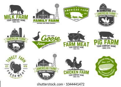 American Farm Badge or Label. Vector illustration. Vintage typography design with chicken, pig, cow and farm house silhouette. Elements on the theme of the milk, pork and chicken farm business.