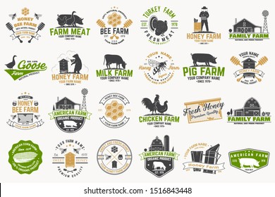 American Farm and Honey bee farm Badge or Label. Vector. Vintage typography design with bee, honeycomb piece, hive, chicken, pig, cow and farm house silhouette. Elements on the theme farm business.