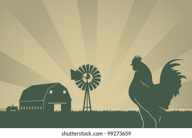 American Farming Background With Barn, Wind Turbine, Rooster