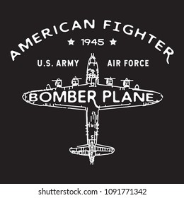 American Fighter Vector Vintage Illustration, Badge, Logo for t shirt and apparel