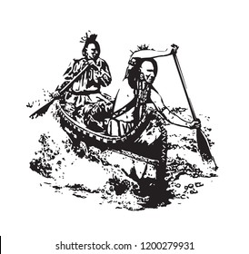 American First Nation people in Birch Canoe