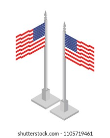American flag 3d isometric flag