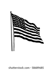 American Flag With 48 Stars - Retro Clip Art