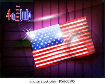 American flag with 4TH of July with shiny effect presentation