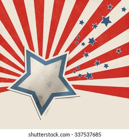 American flag abstract with stars and stripes in retro style