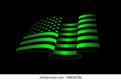 American flag background. Glowing neon style