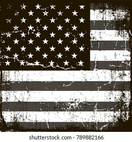 6a3303782b66 American Flag Background. Grunge Aged Vector Template. Horizontal  orientation. Monochrome gamut. Black