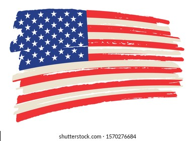 American flag background in grunge style.