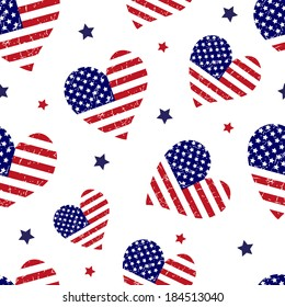 American flag background with hearts. Vector pattern