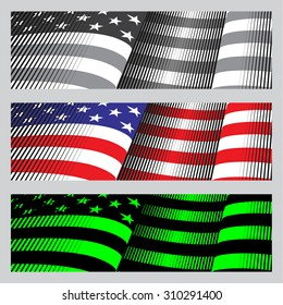 American flag banners. drawing, vintage and neon