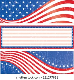 American flag banners set grunge style. Grunge effect can be removed. Vector EPS 10.