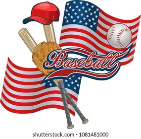 American Flag and Baseball. Baseball label