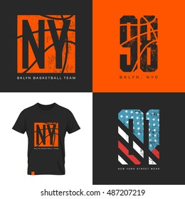 American flag and basketball old grunge effect tee print vector design. Premium quality superior sport number retro logo concept. New York street wear t-shirt emblem.