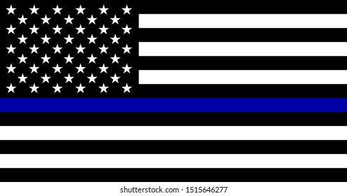 American flag with blue line - police support symbol, Thin blue line.
